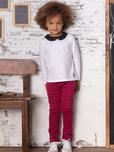 Pantaloni blu inchiostro a quadri bambina BROMILETTE2 / 21H2PFB2PANC214