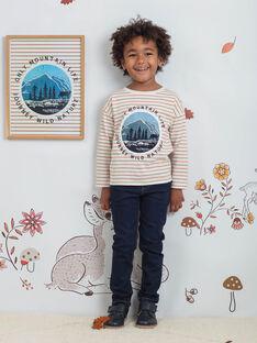T-shirt ecrù e arancione a righe bambino BIFIAGE / 21H3PGJ2TML001