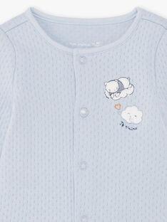 Cardigan e pantaloni celeste e bianco nascita bambino BONIFACIO / 21H0NG42ENS219