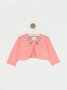 Cardigan rosa ricamato neonata TAQAROLE / 20E1BFP1CARD323