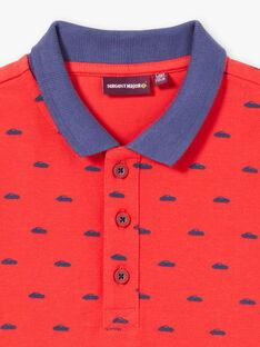 Polo rossa con ricami navy bambino ZYPOLAGE2 / 21E3PGW6POL050