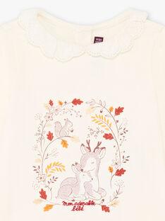 T-shirt collo in pizzo con stampa fantasia neonata BAILIA / 21H1BFJ1BRA001