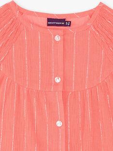 Camicia corallo e argentato a righe in crêpe di cotone ZEPODETTE / 21E2PFI1CHE404