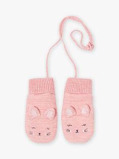 Muffole rosa melange con motivo gatto bambina BLOZUETTE / 21H4PFD2GAND314