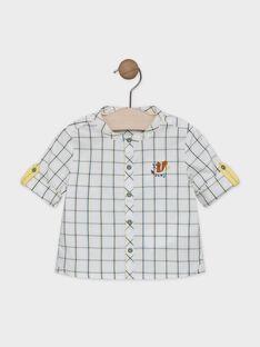 Camicia a quadri neonato ecrù con motivi a quadri petrolio e giallo SABARTH / 19H1BG21CHM001