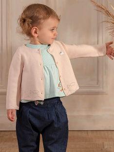 Cardigan rosa chiaro in maglia fantasia ZACARINE / 21E1BFI1CARD319