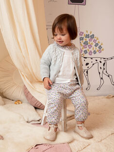 Pantaloni ecrù e rosa stampa a fiori neonata BACHAYMA / 21H1BF21PAN001