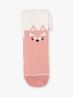 Collant ecrù e rosa con motivo volpe neonata BAILONA / 21H4BFJ1COL001
