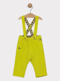 Pantaloni con bretelle neonato anice, con fodera in jersey SAKILLIAM / 19H1BG63PAN605