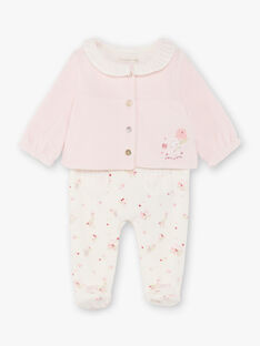 Tutina e cardigan bianco e rosa nascita bambina BONITA / 21H0NF42ENS301