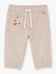 Pantaloni beige e marroni a quadri neonato BALAUREL / 21H1BGJ1PAN811