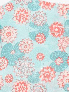 Blusa e bloomer blu e corallo stampa fiori in popeline ZACANDY / 21E1BFI1CHE629