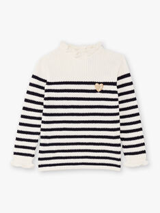 Maglia bianca e navy in maglia a righe bambina BIPOLETTE / 21H2PF51PUL001