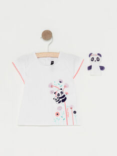 T-shirt ecrù e marionetta da dito neonata TAQLOE / 20E1BFP1TMC001