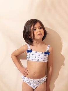 Costume 2 pezzi bianco con motivo a fiori blu bambina ZAIFIETTE / 21E4PFR1D4L001