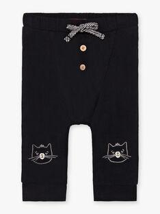 Pantaloni neri tinta unita motivo orsetto ricamato neonato BADAX / 21H1BG22PAN090