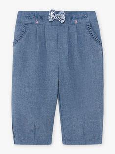 Pantaloni in flanella blu melange neonata BAKILANE / 21H1BFL1PAN222