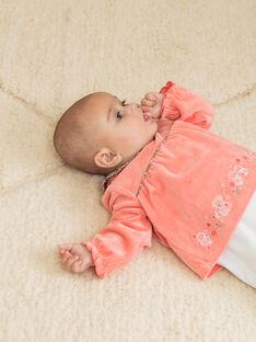 Tutina maniche lunghe bicolore in velluto neonata BEBULLE / 21H5BF61GRE404