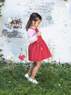 Abito salopette rosso ricamata bambina BAROBETTE / 21H2PF11CHSF505