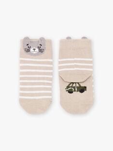 Calze beige melange con motivo gatto neonato BADAOUH / 21H4BG21SOQA013