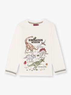 T-shirt a maniche lunghe ecrù e motivi dinosauri bambino BAMOAGE / 21H3PG21TML001