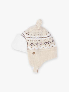Colbacco in maglia jacquard beige melange neonato BIRICARD / 21H4BGE3BONA011