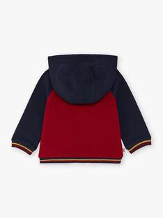 Felpa con cappuccio rossa e navy neonato BAFRED / 21H1BG51JGH070