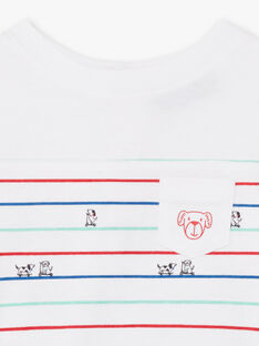 T-shirt bianca e blu a righe neonato BABILLY / 21H1BG11TML001