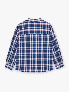 Camicia blu e bianca a quadri in twill di cotone ZAGRAGE / 21E3PGI1CHM705