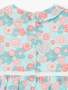 Abito blu e corallo con stampa fiore e bloomer in popeline ZACOLINE / 21E1BFI1ROB629