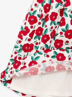 Abito bianco e rosso stampa a fiori bambina BABILETTE / 21H2PF11ROB001