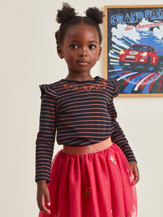 T-shirt maniche lunghe nera ricamata bambina BRITIZETTE / 21H2PFM2TML090