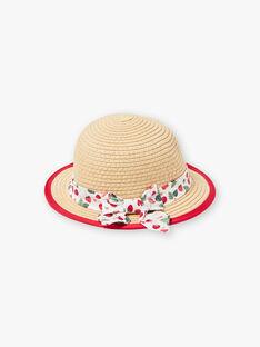 Cappello corda con nastro raso ecrù con stampa ZAAMOUR / 21E4BFJ1CHA080