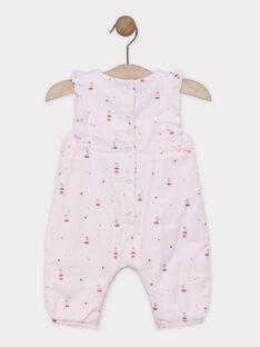 Salopette rosa chiaro con stampa e volant neonata SYALICIA / 19H0CF11SAL301