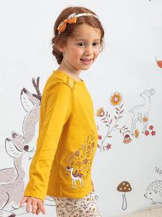 T-shirt senape con motivi cerbiatto e fiori bambina BUBIZETTE / 21H2PFJ2TMLB106