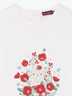 T-shirt a maniche corte ecrù con motivi gatto e fiori bambina BATELETTE / 21H2PF11TMC001