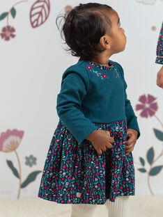 Abito maniche lunghe petrolio stampa a fiori neonata BAGEORGIE / 21H1BF91ROB714