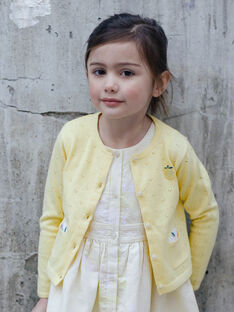 Cardigan giallo limone traforato bambina ZICADETTE / 21E2PFO1CARB104