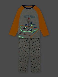 Set pigiama grigio melange stampa fantasia basket bambino BIBASKAGE / 21H5PG73PYJ943