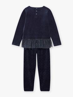 Set pigiama blu notte in velluto motivo fantasia bambina BEBYGNETTE / 21H5PF73PYJ705