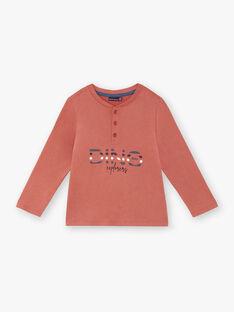 T-shirt maniche lunghe rosso mattone bambino ZECRIAGE / 21E3PGB1TML506