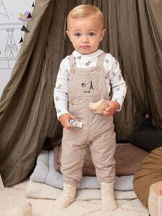 Salopette beige con stampa fantasia neonato BADARWIN / 21H1BG21SALA013