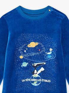 Set pigiama blu in velluto motivo lupo bambino BULOUAGE / 21H5PGN1PYJC232