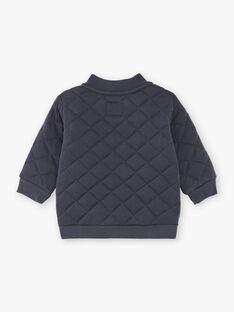 Giacca con cerniera grigio antracite in jersey matelassé ZACESAR / 21E1BG91GILJ912