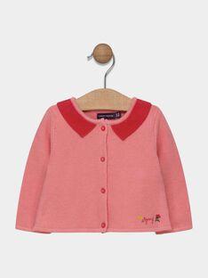 Cardigan rosa con collo a contrasto neonata SACLAIRE / 19H1BF31CAR305