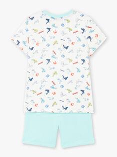 Completo da spiaggia ecrù e celeste t-shirt e shorts bambino ZIPALAGE4 / 21E3PGQ3ENS001