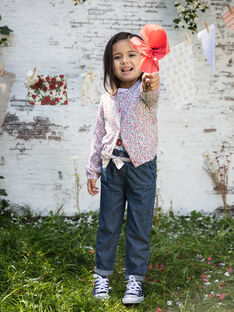 Cardigan maglia sottile a maniche lunghe con stampa a fiori bambina BAZIETTE / 21H2PF11CAR001