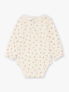 Body ecrù e rosso con stampa cerbiatto e fiore neonata BAIGI / 21H1BFJ1BOD001
