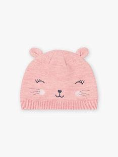 Berretto rosa melange con motivo gatto bambina BLOZAETTE / 21H4PFD3BOND314