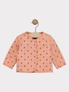 Cardigan double face senape e rosa neonata SAGROSEILLE / 19H1BF61CAR804